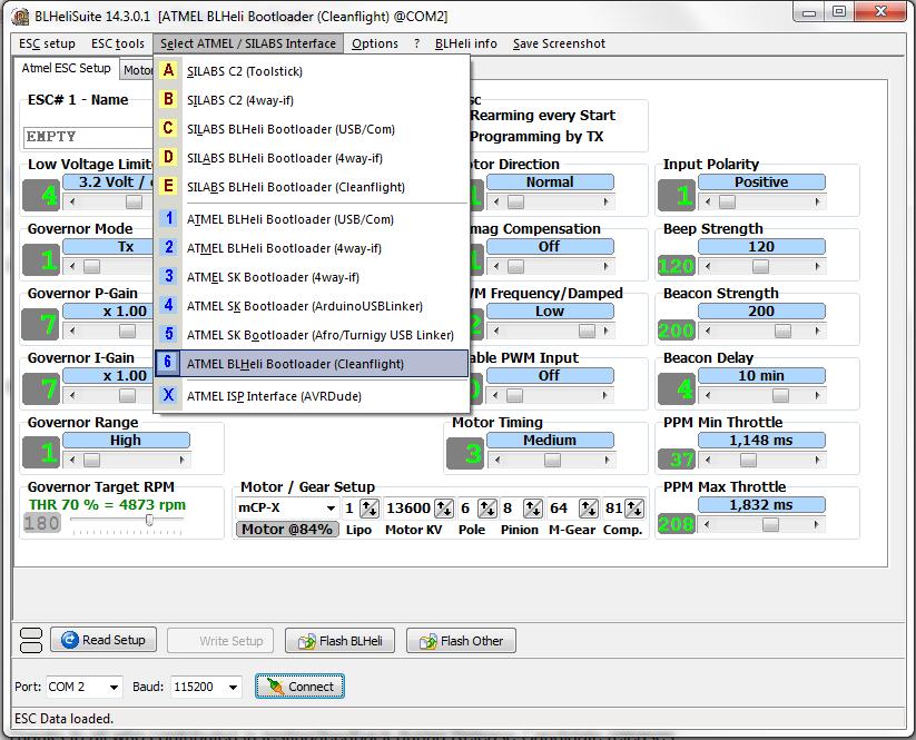 BlHeli Suite Cleanflight Interface