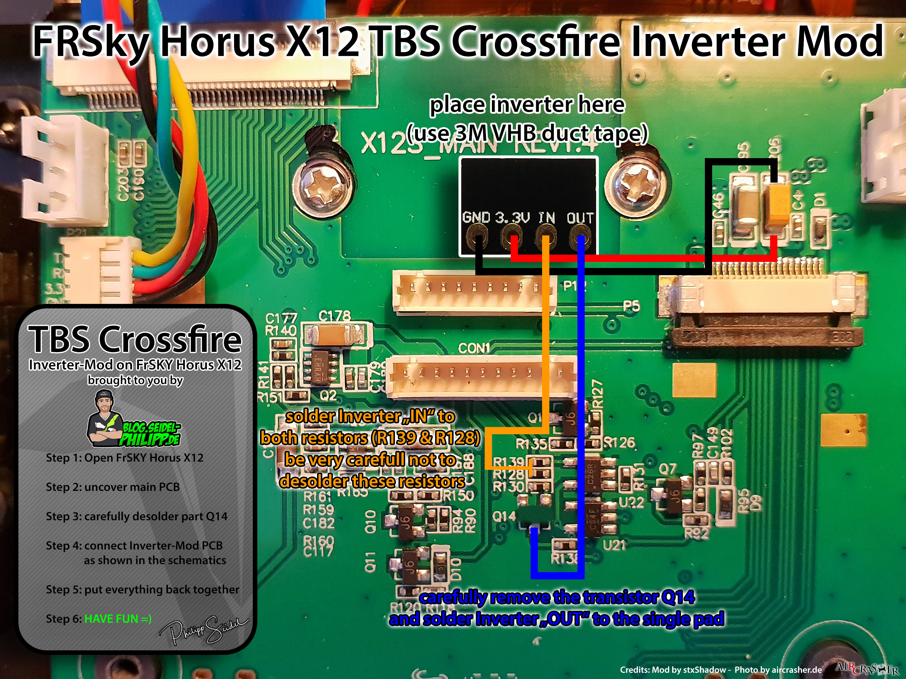 Fixed Inverter Mod For Tbs Crossfire And Frsky Qx7 X10s X12 Wiring Diagram Fr Horus
