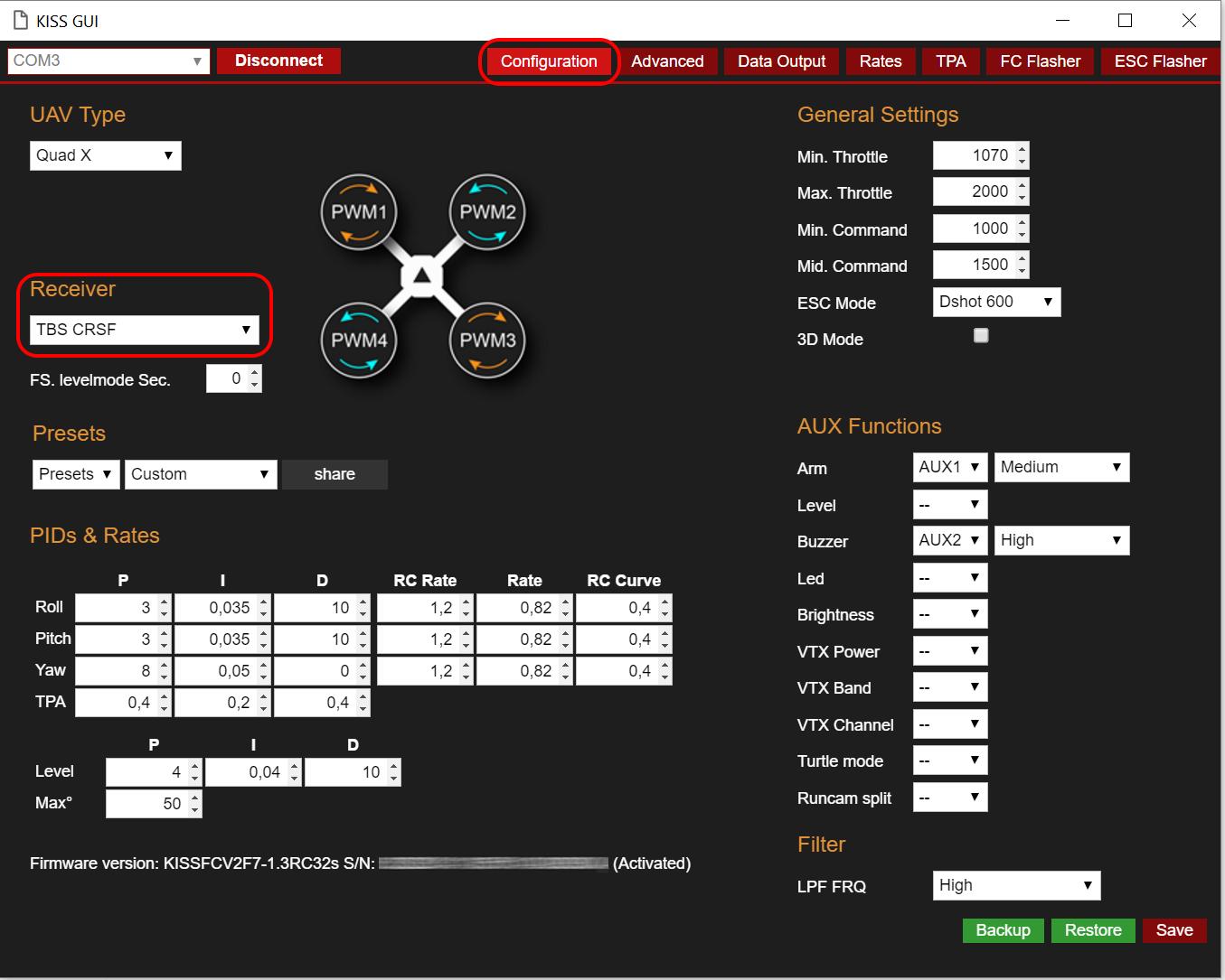 TeamBlacksheep Crossfire - Taranis LUA Script for Betaflight